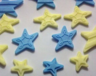 Blue and Yellow Fondant Stars-Cake Toppers-Set of 12