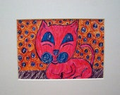 CheekyPuss Smiling Pink Kitty in Mat OOAK