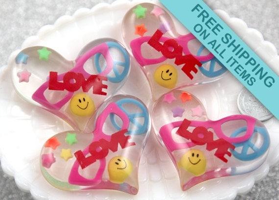 55mm Huge Pop Cute Happy Nerd Glasses Peace Symbol Resin Heart Cabochons - 2 pc set