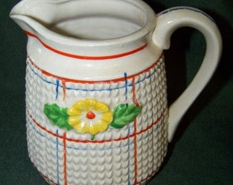 Vintage Creamer/Pitcher...Mid Century...Made in Japan...Country Farmhouse...Raised Flower Design...Cottage Chic...Decorative