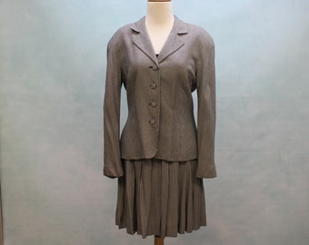 80's Black Check Suit / Jacket and Skirt / Talbots / Petite /  Xsmall to Small