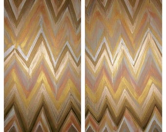 Custom ikat chevron PAIR 24x48 Painting by Jennifer Moreman