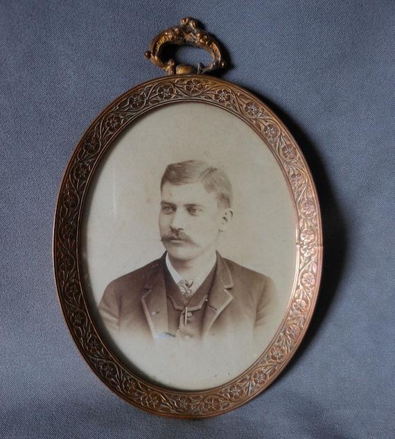 Antique Victorian Oval Gilt Brass Picture Frame, Handsome Man