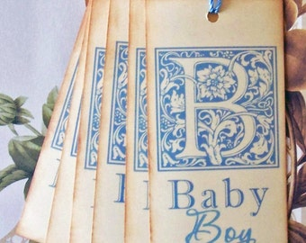 Tags Baby Shower Boy Gift Tags Favor Tags Wish Tree Vintage Style Treat Bag Tag TB005