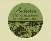 Return address labels, stickers, tags, envelope seals, round-- Xmas flourish, green