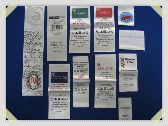 1,000pcs Customer Satin Printed Labels (White Background with 2-4 Colors) Free Shipping