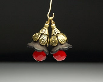 Bead Dangles Vintage Style Black and Red Lucite Flowers Pair BK115