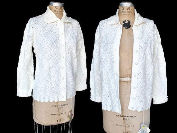 SALE 60s White Knit Sweater / DEADSTOCK cardigan / M-L