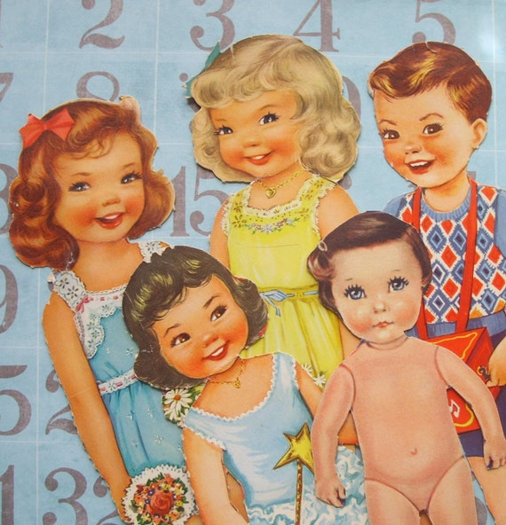 5 Cute Vintage Paper Dolls Boy and Girls
