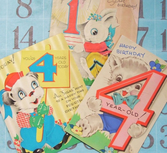 Vintage Birthday Greeting Cards Lot Bunny Dog and Cat