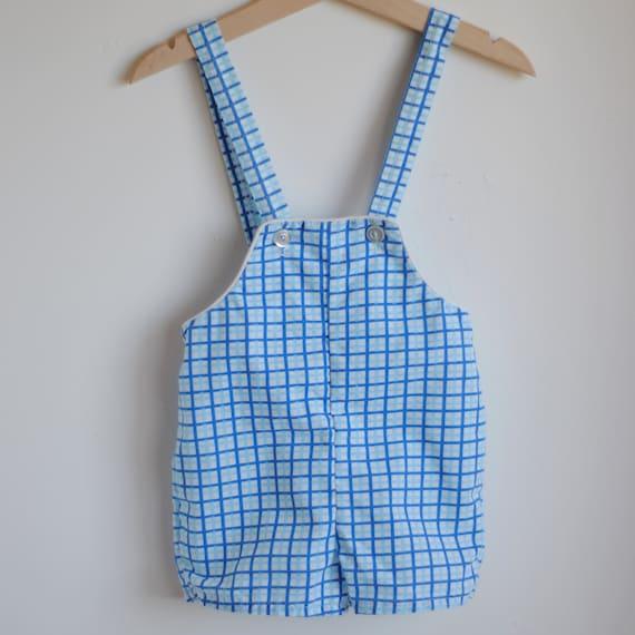 Vintage Toddler Boy Romper Overalls - Blue PLAID (18-24m)