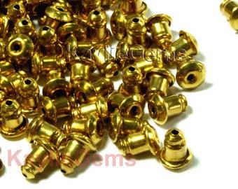 Ear Nut Clutch Back Solid RAW Brass Barrel Bullet Style - 24 pcs