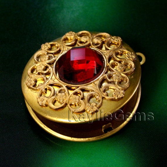 Locket Filigree Raw Brass Ruby Glass Baroque Victorian Pendant