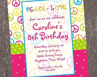 Girls Peace Sign Birthday Invitation