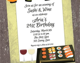 Sushi Birthday Invitation - 1.00 each with envelope