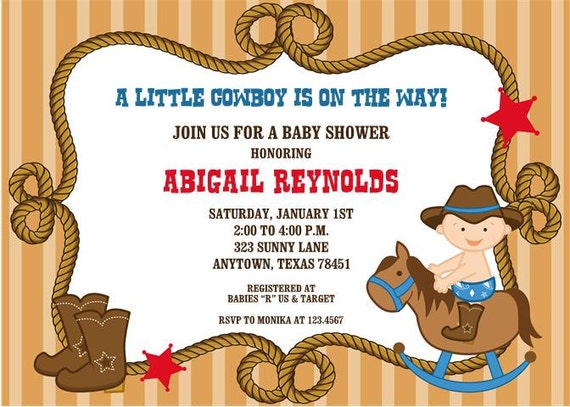 Little Cowboy Baby Shower Invitations by Paper Monkey Company
