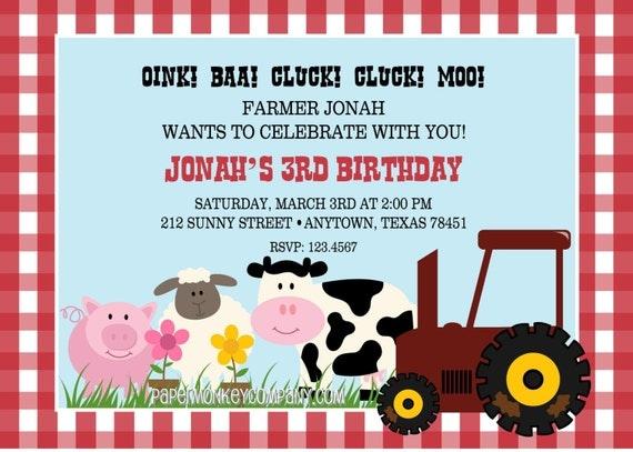 Farm Birthday Invitation Barn Animals Pig Chicken Sheep