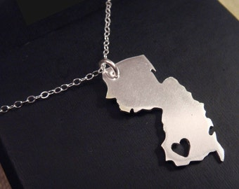 New Jersey Pendant Necklace Personalized Location of the Heart over the City of Your Choice
