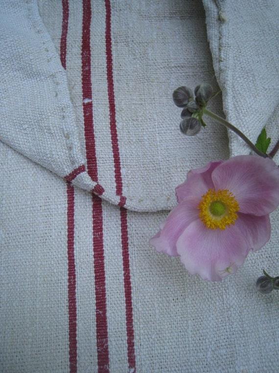 antique grain sack cushion tablerunner upholstery DARK BORDEAUX  wedding decor