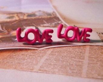 SALE - Mini Pink Love Word Stud Earrings