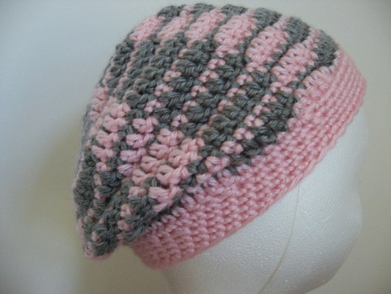 Crochet Slouch Hat for Toddler - Pink and Gray