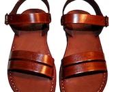 Brown Hammer Leather Sandals for Men & Women - Handmade Unisex Sandals, Flip Flop Sandals, Jesus Sandals, Genuine Leather Sandals
