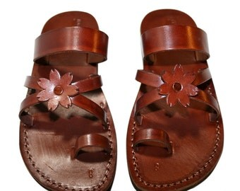 Brown Flower-cross Leather Sandals For Men & Women - Handmade Unisex Sandals, Flip Flop Sandals, Jesus Sandals, Genuine Leather Sandals