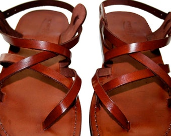 Brown Triple Leather Sandals For Men & Women - Handmade Sandals, Leather Flats, Leather Flip Flops, Unisex Sandals, Brown Leather Sandals
