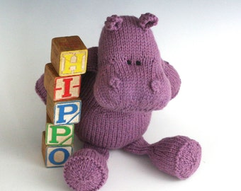 H is for Hippopotamus - PDF Knitting Pattern for a Stuffed Toy Hippo