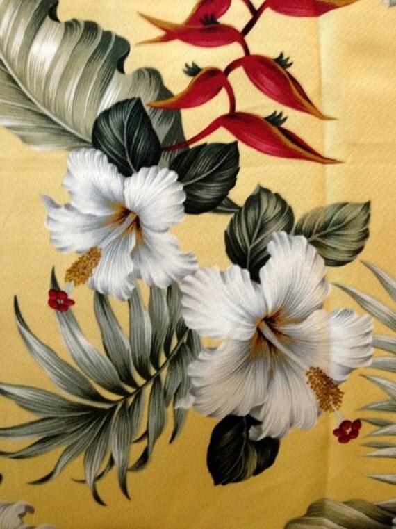 New Retro Hawaiian Barkcloth with Hibiscus and Bird of Paradise