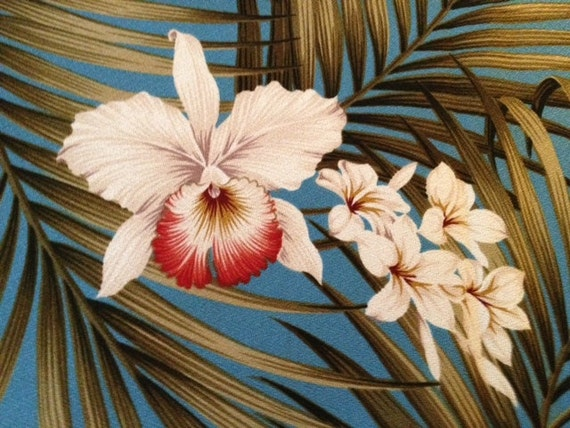 New Retro Hawaiian Barkcloth with Orchids and Palm Fronds