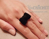 Handmade Crochet Bow Ring - Black