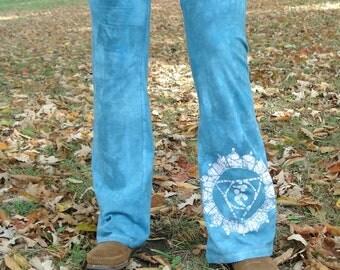 Chakra Yoga Pants Vishuddha Chakra Throat Chakra Blue Batik Yoga Pants READY TO SHIP