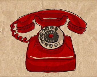 old red telephone-Digital Image Sheet -Original Illustrate Drawing  A4 Print transfer on Pillows, t-shirts, scrapbook, lampshades  ETC.v