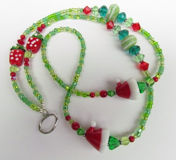 Id Card Beads: Christmas Beaded ID Lanyard Lampwork Seed Beads By Harleypaws