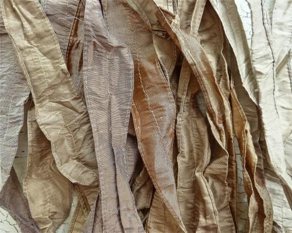 mixed metals recycled silk sari ribbon..limited stock