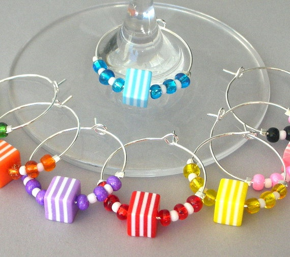 8 rainbow wine charms, striped multicolor cubes, wine glass charms, dining & entertainment barware, Hostess party gift, bridal shower gift