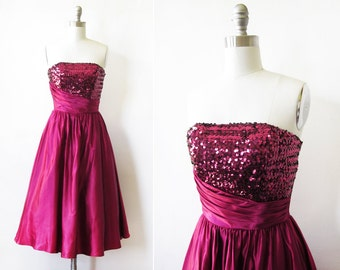 sequin party dress, vintage 80s raspberry red bridesmaid dress, 50s style prom dress