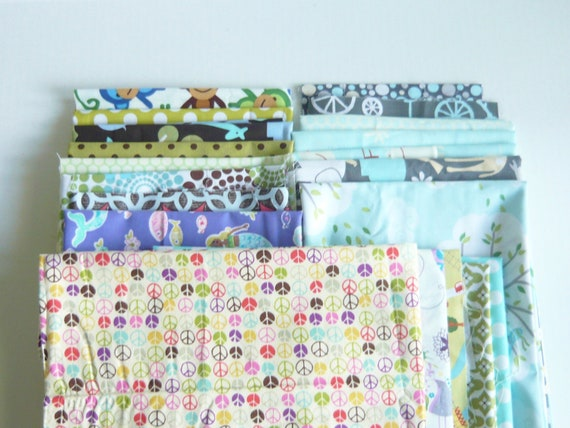 Pieces Pak Fabric scrap bundle - Micheal Miller, Ann Kelle, Free Spirit and more - Mixed Bag 8.25 yards of fabric