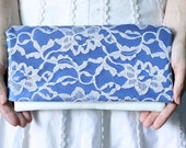 SOMETHING BLUE - Sapphire Blue and Ivory Lace Clutch - Wedding Clutch Purse - Bridesmaid Gift Idea
