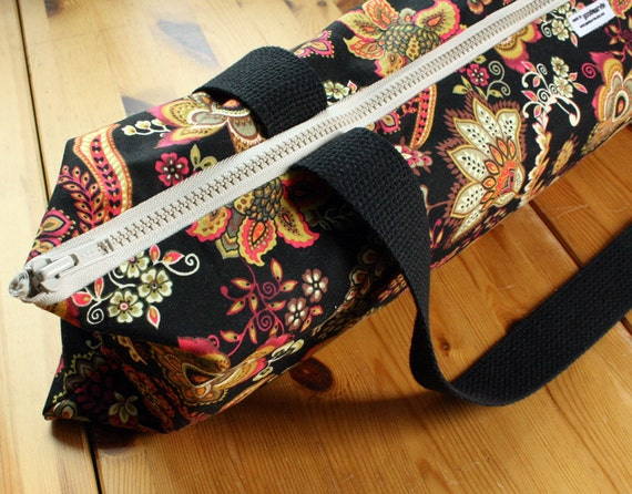 Zippered Yoga Bag Top-loading Yoga Mat Bag in Psychedelic Black, Pink, Olive, and Orange Floral