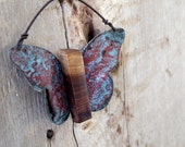 Butterfly Decoration Wall Art Christmas Ornament Ruby Red Turquoise Teal Rust Organic Black Walnut Textured Vintage Metal Barn Tin