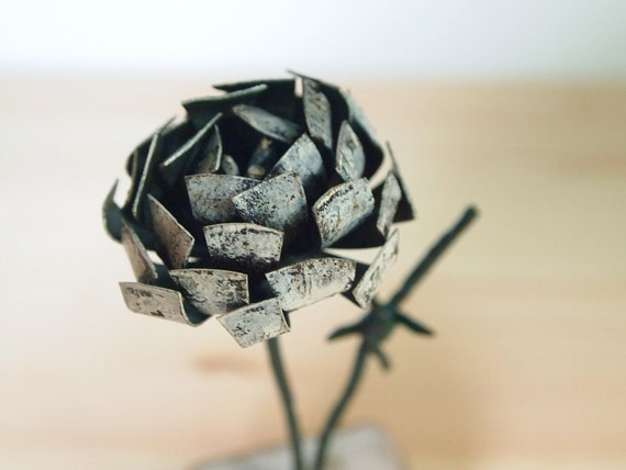 White Rose Bud Cottage Chic 3d Art Metal Flower Reclaimed Wood  Antique Barbed Wire Stem Rustic Decor