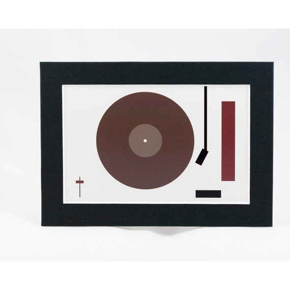 CLEARANCE - 4X6 Art Print - Eames-Inspired Mod Record Turntable Print - Matted to 5X7 - Bruce