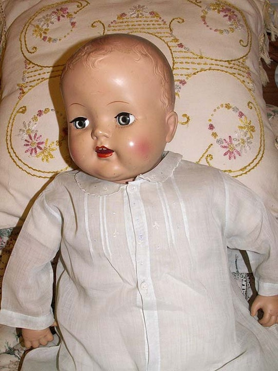 Antique baby doll dress vintage 1930s to 1940s fits 24 by for 5 inch baby dolls for crafts