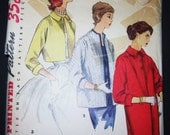 1950s Jacket Coat Pattern Simplicity 1451 Simple To Make 3 Lengths Cropped Hip Long Vintage Bust 36 Uncut