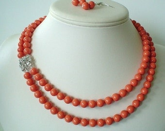 Two Strand Swarovski  Coral Pearl with Square Rhinestone Pendant Beaded Necklace and Earring Set    Great Brides or Bridesmaid Gifts