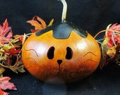 Halloween gourd Kitty cat candy dish black lid decoration