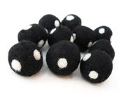 Felt Balls Black and White - 10 Pure Wool Beads 20mm - Dots -