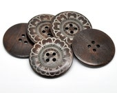 "Large wooden button with flower pattern - 3 wooden craft buttons 60mm (2 3/8"")  #BB160C"